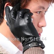Black Men's Winter Warm Touch Screen Gloves Genuine Sheepskin Leather One Line One Buckle