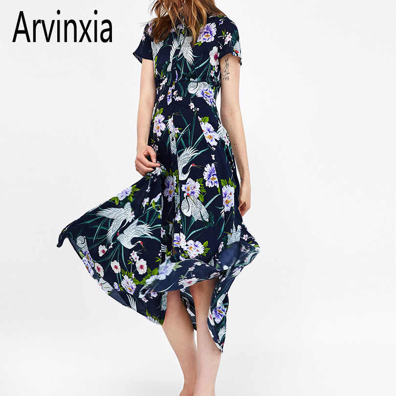 Arvinxia ZA Sexy Floral Print Woman Long Dress Casual Long Sleeves Turn Down Collar Dress New  Vintage Boho Plus Size Lady Dress
