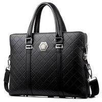 Fashion password lock open classic black handbag men's business laptop bag large 14 laptop bags leather male messenger bag New