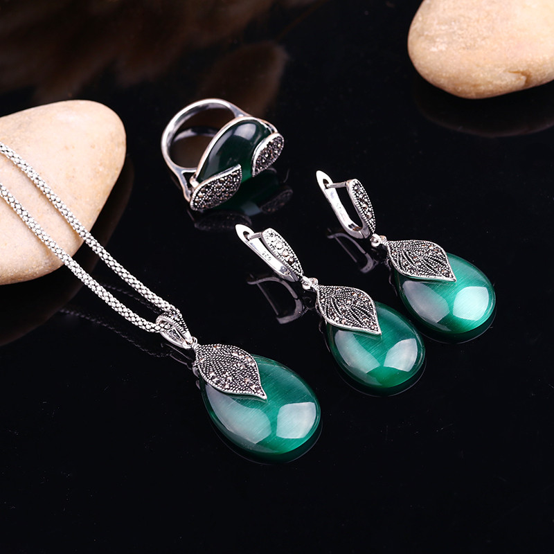 HTB1tbd1OVXXXXczapXXq6xXFXXXs - Feelgood Jewellery Set Vintage Silver Color Fashion Water Drop Green Natural Stone Opal Jewelry Sets For Women Party Gift