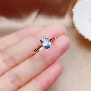 Image 3 - Natural aquamarine ring, 925 silver, simple style, 1 carat gems, clean quality, cheap price