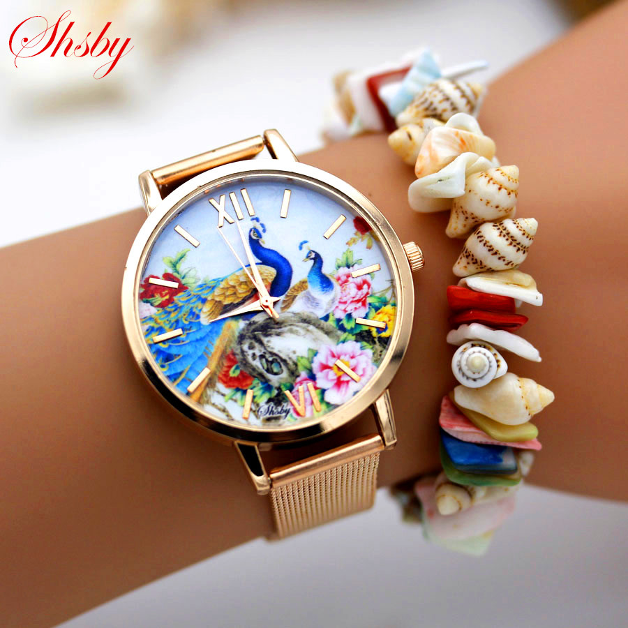 Shsby high quality Gold Stainless steel watches women dress quartz wristwatch new arrival ladies flower watches relogio feminino high quality rose gold silicone watch women ladies men fashion dress quartz wristwatch relogio feminino gv008
