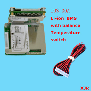 Image 1 - 10S 30A  36V  lipo lithium Polymer BMS/PCM/PCB battery protection board for 10 Packs 18650 Li ion e bike Battery Cell w/ balance