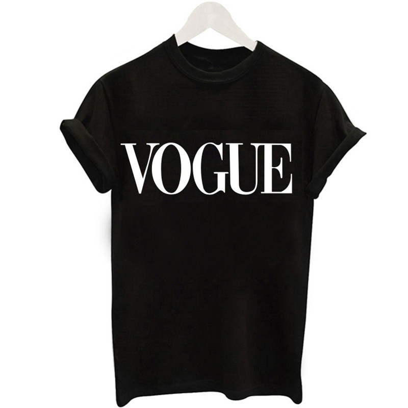 2019 New Women   T  -  Shirts   Summer Fashion VOGUE O-Neck   T     shirt   Female Tee Tops Casual Woman   T  -  shirts   Plus Size