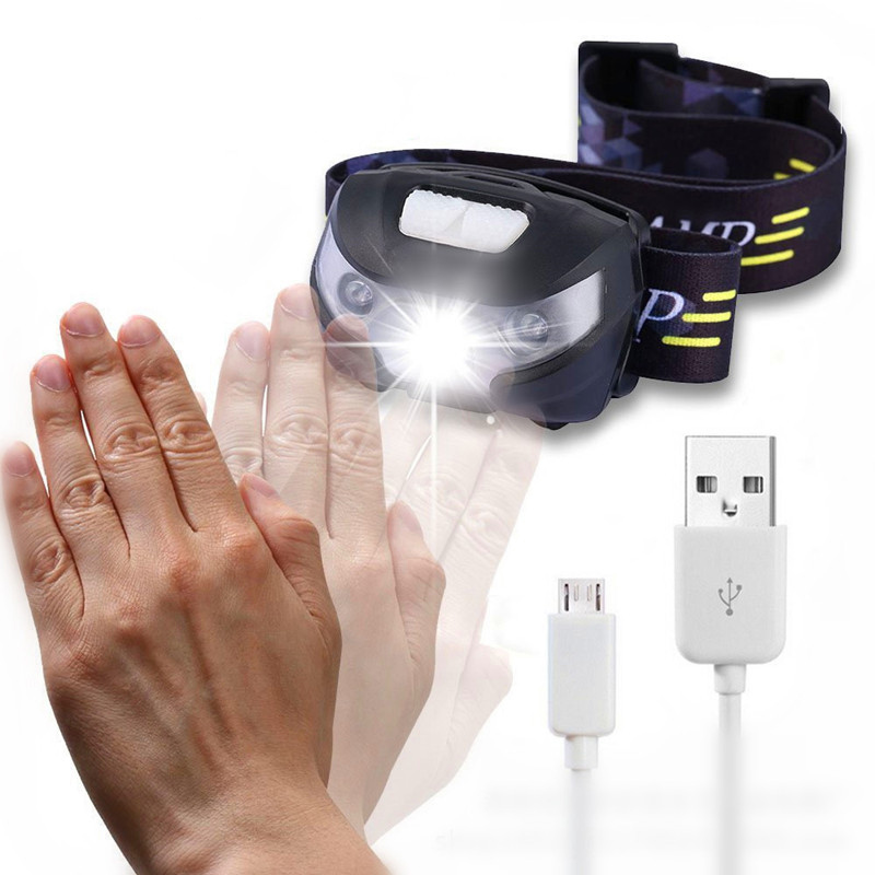 S 4000LM Mini Rechargeable LED HeadLamp Body Motion Sensor LED Bicycle Head Light Lamp Outdoor Camping Flashlight With USB
