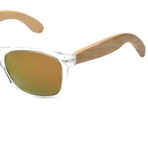 Image 4 - BOBO BIRD Handmade Polarized Sunglasses Women Men With Colorful Lens Transparent Plastic Frame Bamboo Legs Fashion Spectacles