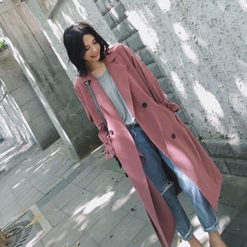 vent Style Taille longue Breasted Coupe photo Femme Tranchée Automne Manteau Britannique La Ym829 Color Double Plus Kaki Maxi X Mince Pour Femmes Solide rOwqTrxg