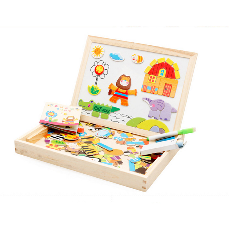 N156 Free shipping Happy farm forest paradise magnetic wooden double - sided puzzle drawing board children 's educational toys mylb educational farm jungle animal wooden magnetic puzzle toys for children kids jigsaw baby s drawing easel board
