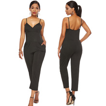 Summer new V-neck female sling jumpsuit wide leg casual trousers high waist pants Slim