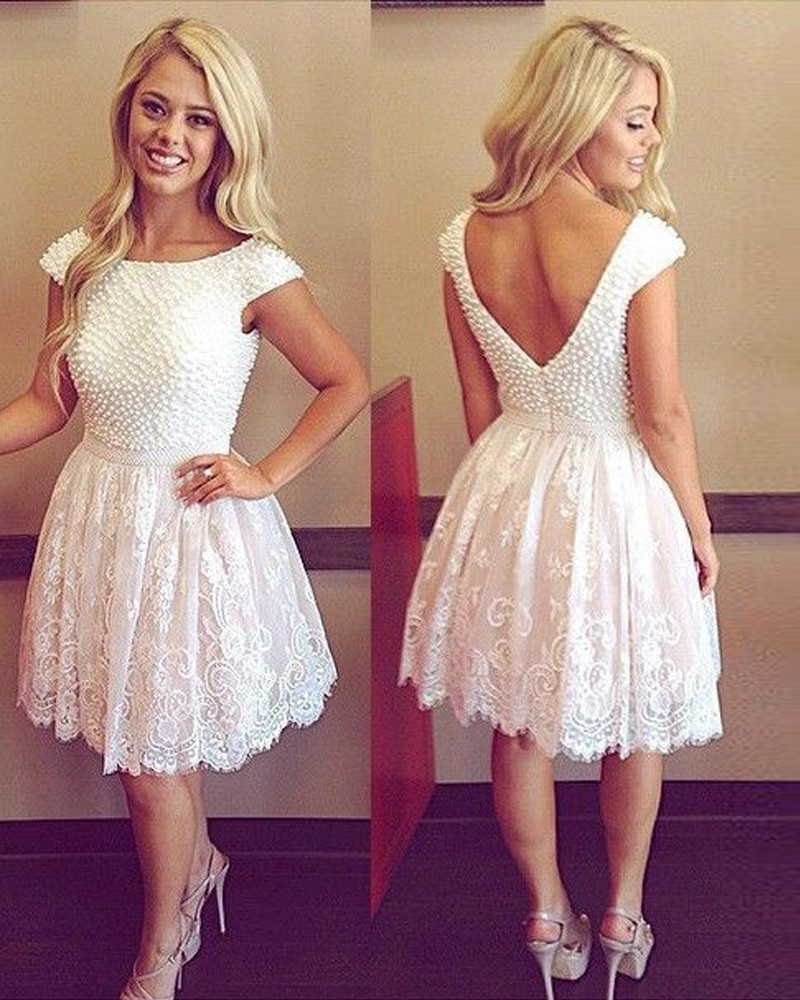 Top Quality Scoop Neck Mini Short Cocktail Dresses Lace Pearl Party ...