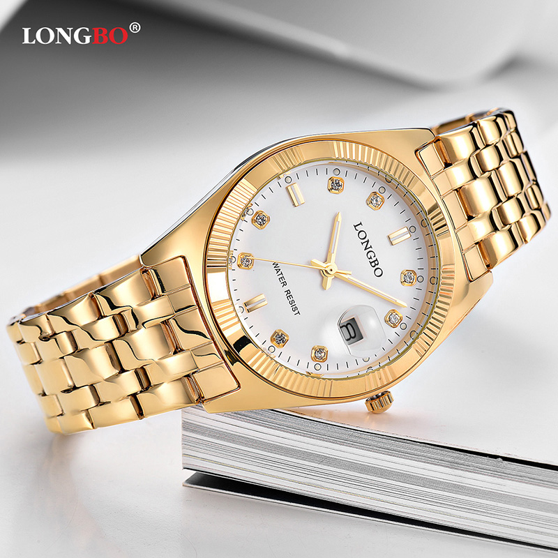 2018 LONGBO Mens Watches Top Brand Couple Quartz Analog Watch Lovers Stainless Steel Simple Gold Dial Clock reloj mujer 80163