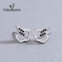 Купить с кэшбэком Todorova Korean Fashion Hollow Cloud with Black Zirconia Lightning Stud Earrings Womens Jewellery Minimalist Earrings Ladies
