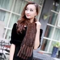 ZDFURS * autunno e inverno pelliccia di visone sciarpa ultra lungo nappa lavorata a maglia pelliccia di visone silenziatore fazzoletto da collo di pelliccia sciarpa di pelliccia di visone