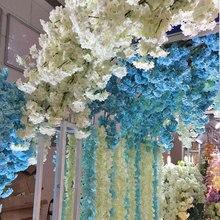Glicínias Artificial Flor Ramo Guirlanda Decoração Do Casamento de Suspensão Cherry Blossom Peach Flores parede/janelas/porta decorações