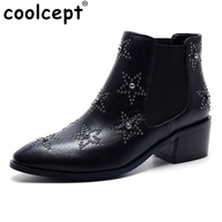 Women Ankle Boots Classics Star Design Women Autumn Winter Boots Pointed Toe Platform Shoes Square Heels