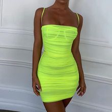 BKLD Fluorescerend Groen Ruches Bodycon Jurk Zomer Bandage Mini Party Night Club Vestidos Vrouwen Sexy See-through Neon Mesh jurk(China)