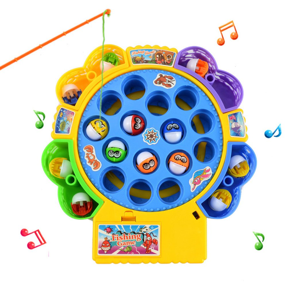 kids fishing toys set electronic magnetic musical fishing toy plastic fish board games parent