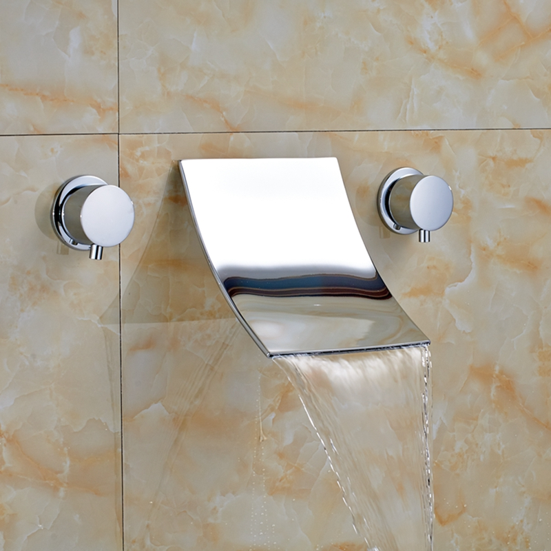 Polished Chrome Waterfall Bathroom Tub Faucet Widespread Vanity Sink Mixer Tap polished chrome widespread waterfall spout bathroom tub faucet dual handles tap