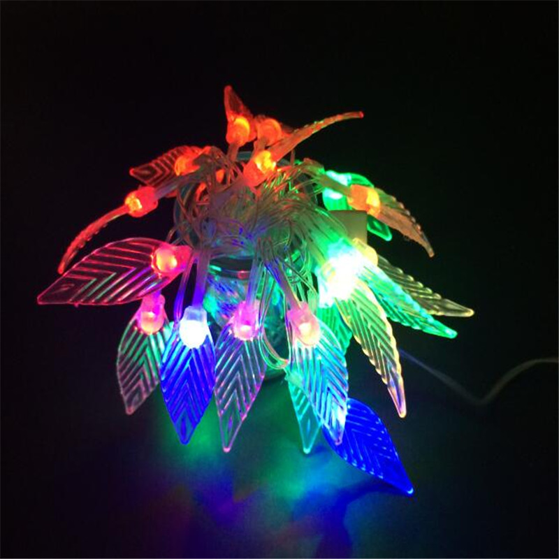 handmade 3M 20 LEDs leaf garland battery operate Copper LED fairy string lights for rustic wedding decoration summer party event
