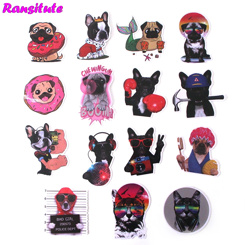 15Pcs/set Bulldog Funny Children's Toy Stickers DIY Luggage Laptop Skateboard Motorcycle Mobile Phone Waterproof Stickers R379