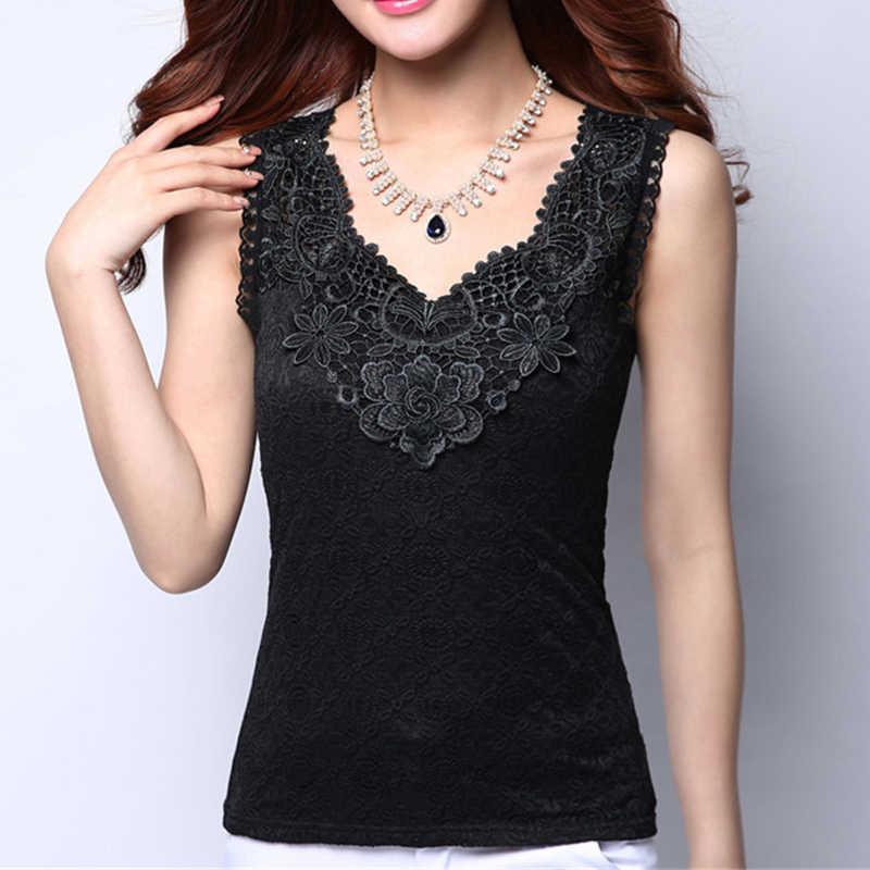 Las mujeres Sexy Camisa blusa de verano elegante sin mangas blanco negro de encaje de ganchillo Tops para mujer Casual Blusas chaleco Camisa nuevo