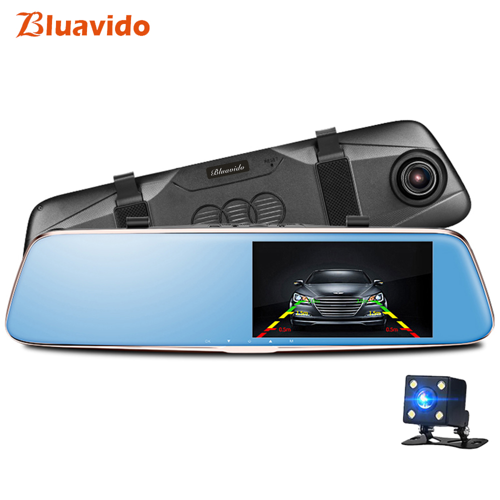 Bluavido Full HD 1296P Car DVR Night vision ADAS Dual Lens 5 Inch Rearview mirror video camera Recorder 1080P Dashcam G Sensor цена