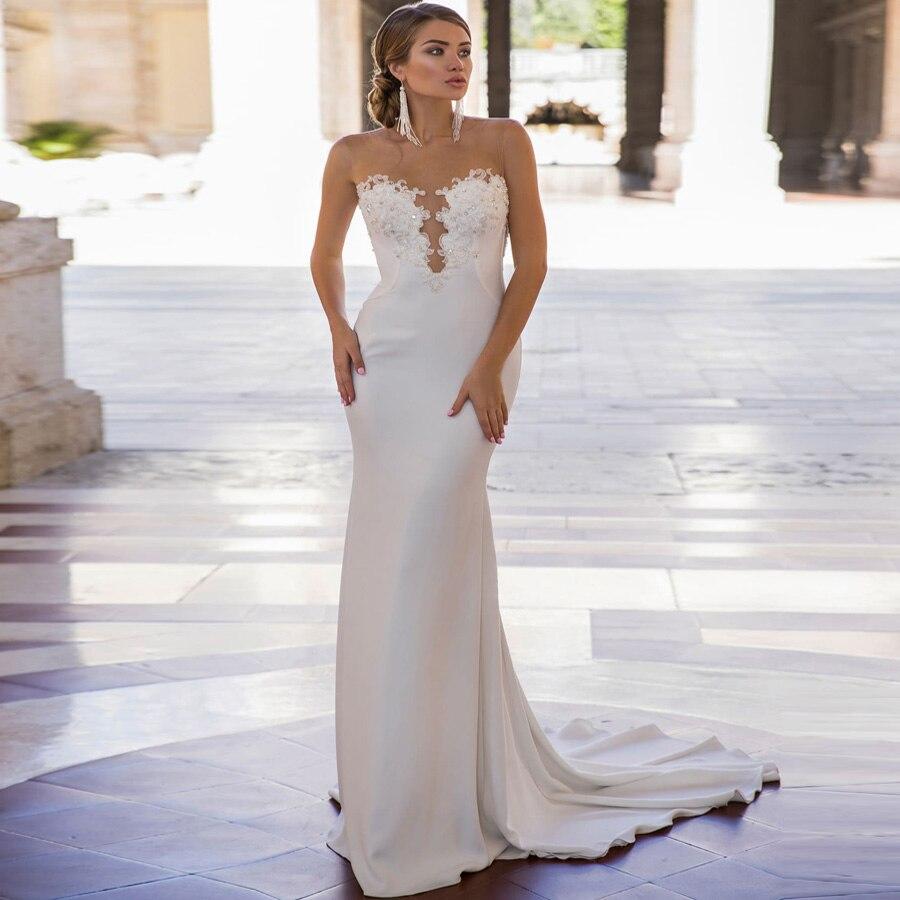 ADLN Cheap Backless Mermaid Wedding Dresses O neck Sleeveless Beaded Applique Wedding Gowns Vestidos De Novia