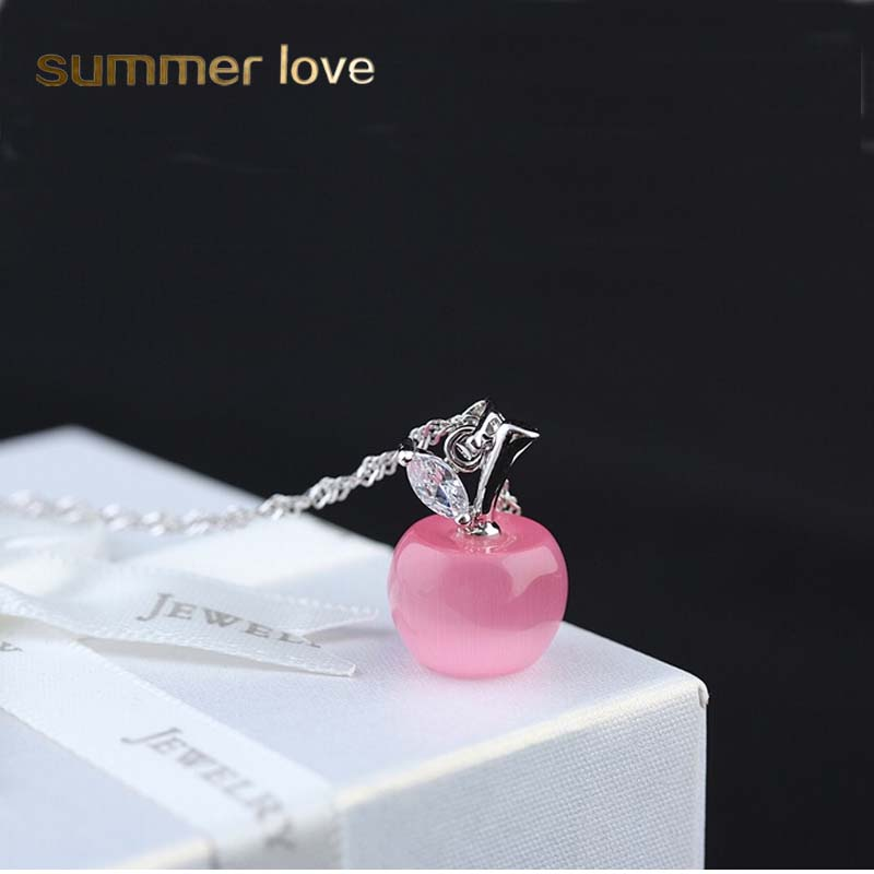 Lovely Pink White Opal Apple Pendants Necklace For Women Girls Silver color Chain Necklace For Neck Collier fashion jewelry Gift