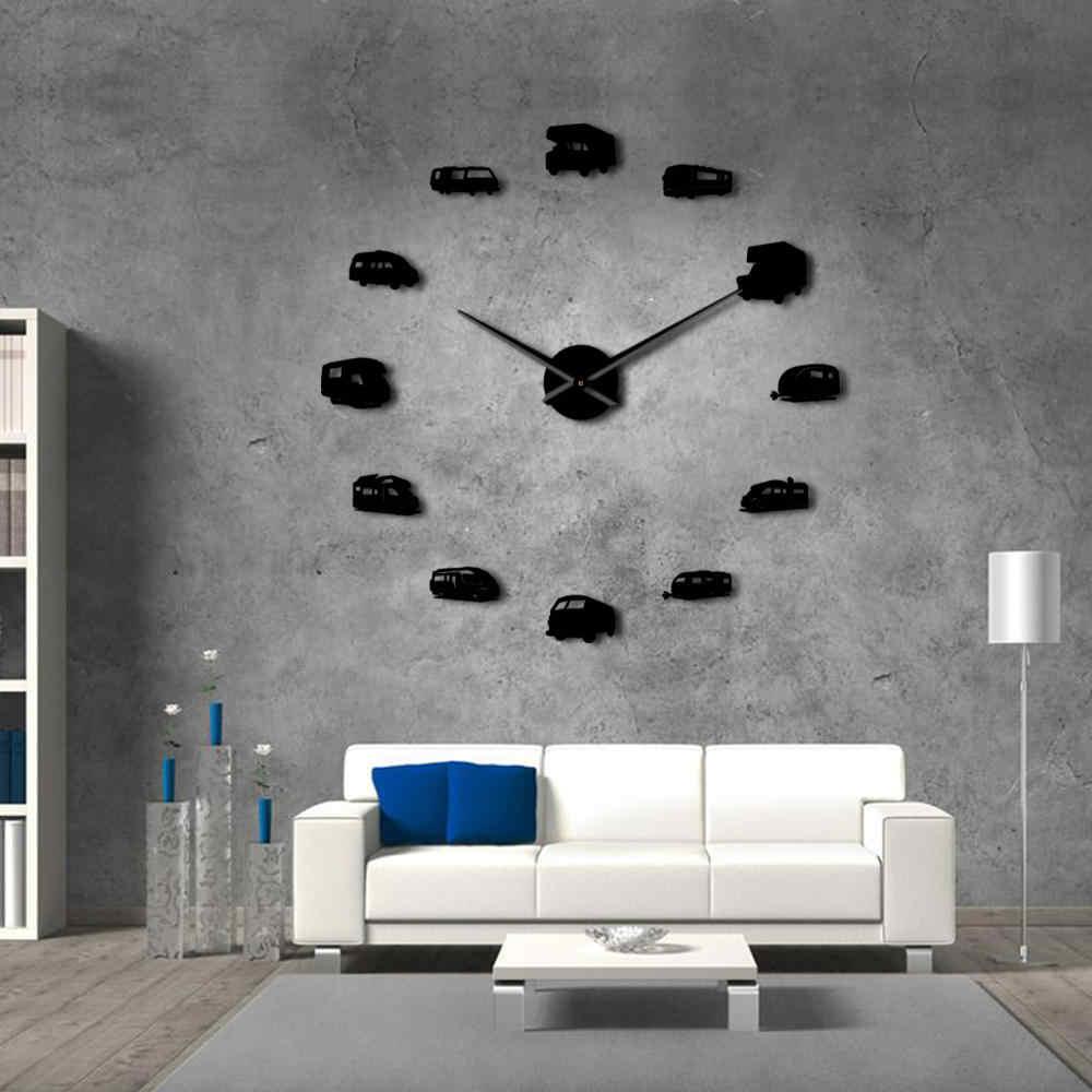 Кемпер автобус домашний декор RV Кемпинг DIY гигантские настенные часы дорожный прицеп транспорт для отдыха настенные часы