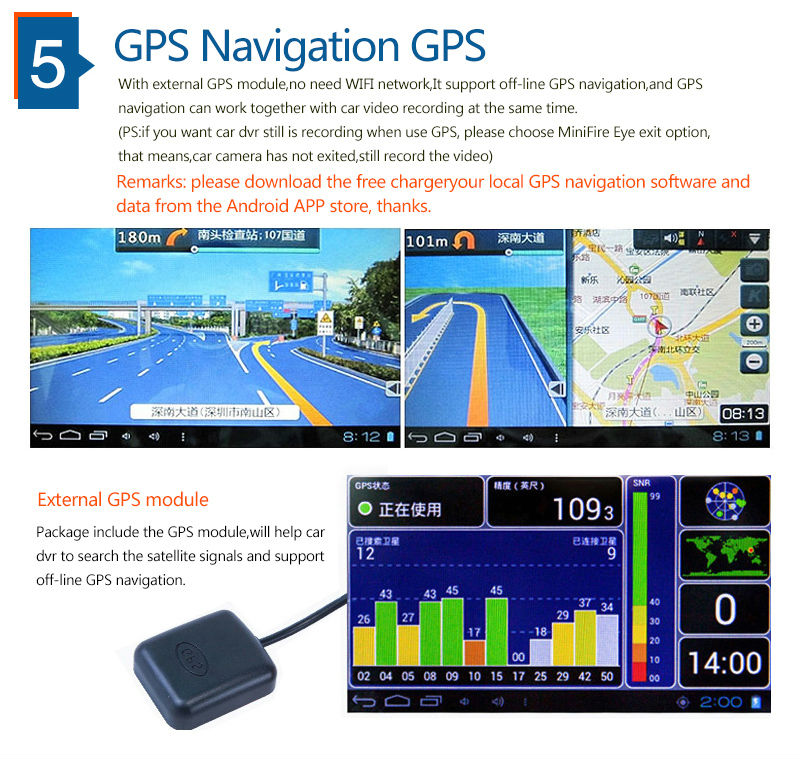 "5.0"" Touch Android 4.4 ROM Dual lens FHD1080P camera WiFi GPS parking car dvrs Rearview mirror video recorder Car DVR 6"