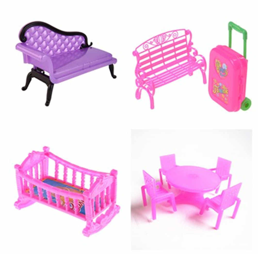 Dinner Sofa 1pc Or Set New Dinner Chair Sofa With Travel Suitcase Luggage Case Rocking Cradle Bed Dollhouse Furniture For Accessories