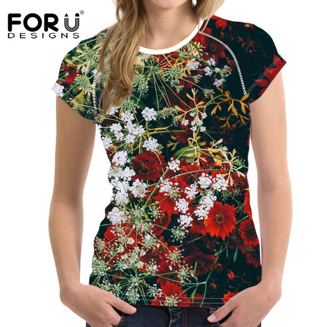 b3a10860 FORUDESIGNS Women t shirt Flower Design T-shirts for Mum Pink Floral Rose  Tops Tees Harajuku ladies Tshirts Camiseta feminina