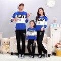 ¡ Caliente! 2016 la Familia Del Otoño Trajes A Juego juego de la familia de Algodón de manga Larga ropa T-shirt Family Look Familia ropa a juego