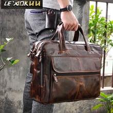 Мужской бизнес-портфель с масляной вощеной кожей, антикварный дизайн, чехол для ноутбука, чехол для документов, модная сумка-мессенджер, сумка-тоут, портфель 7146