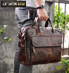 Image 1 - Erkek yağ balmumu deri antika tasarım iş evrak çantası dizüstü evrak çantası moda ataşesi askılı çanta Tote portföyü 7146