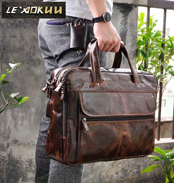 Erkek yağ balmumu deri antika tasarım iş evrak çantası dizüstü evrak çantası moda ataşesi askılı çanta Tote portföyü 7146