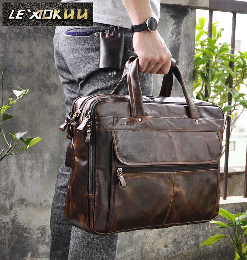 Men Oil Waxy Leather Antique Design Business Briefcase Laptop Document Case Fashion Attache Messenger Bag Tote