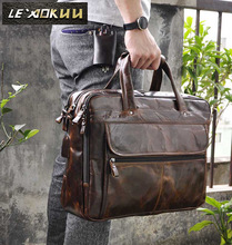 ФОТО Mens  crazy horse  Leather Antique Style Briefcases Business 16 Laptop Cases Attache Messenger Bags Tote