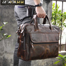 Business Briefcase Tote Laptop-Document-Case Portfolio Messenger-Bag Fashion 7146 Oil-Waxy