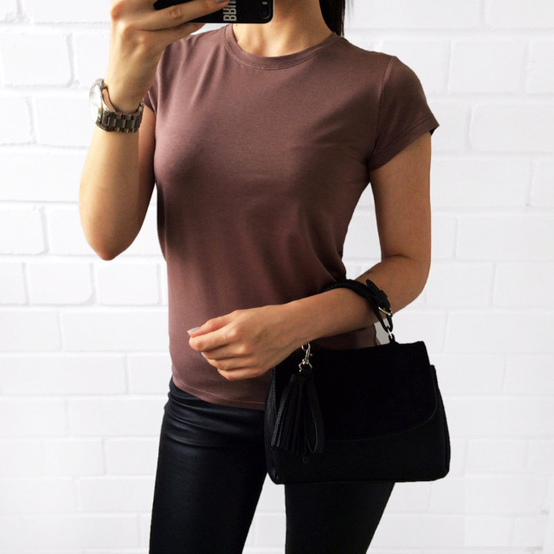 2018 Female All-Match Solid Color Short-Sleeve Women T-Shirt White Black Grey Green Basic TShirt