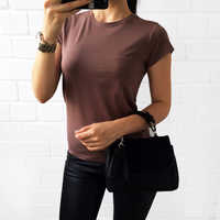 S-3XL T Shirt Women High Quality 2019 Plain Cotton Elastic Basic T-shirt Female Casual Tops Short Sleeve T-shirt Black White New