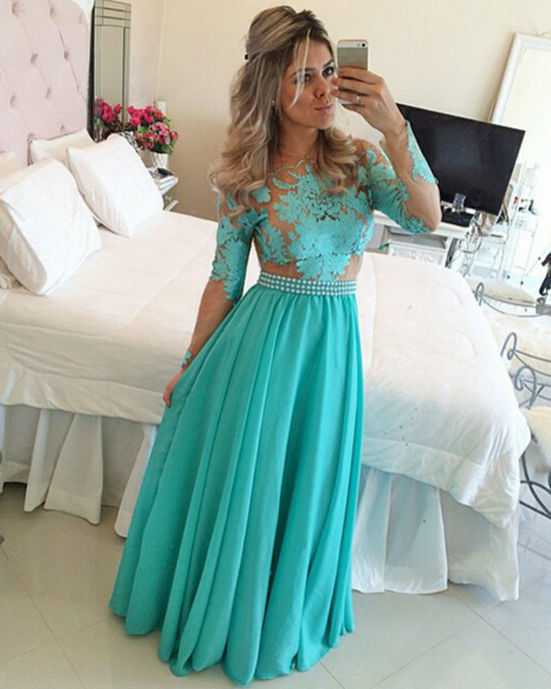 Long Sleeve Evening Prom gown Turquoise Chiffon Nude Tulle Appliques ...