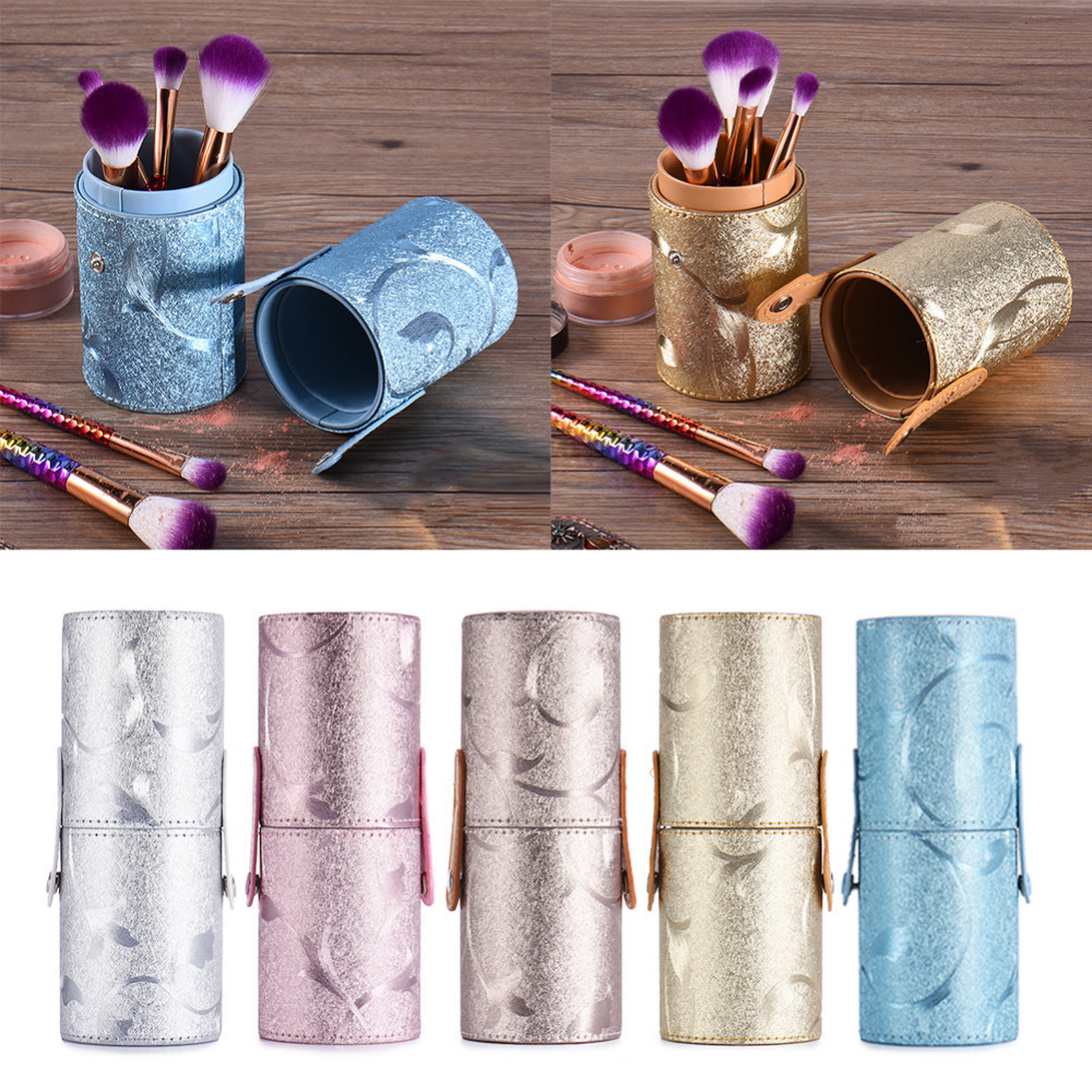 5 Colors Leather Makeup Brushes Pen Holder Case Empty Storage Tube For Makeup Brushes Cosmetics Container hot pro makeup brushes kits flower leather cup holder comestic brushes empty case 4 color free shipping