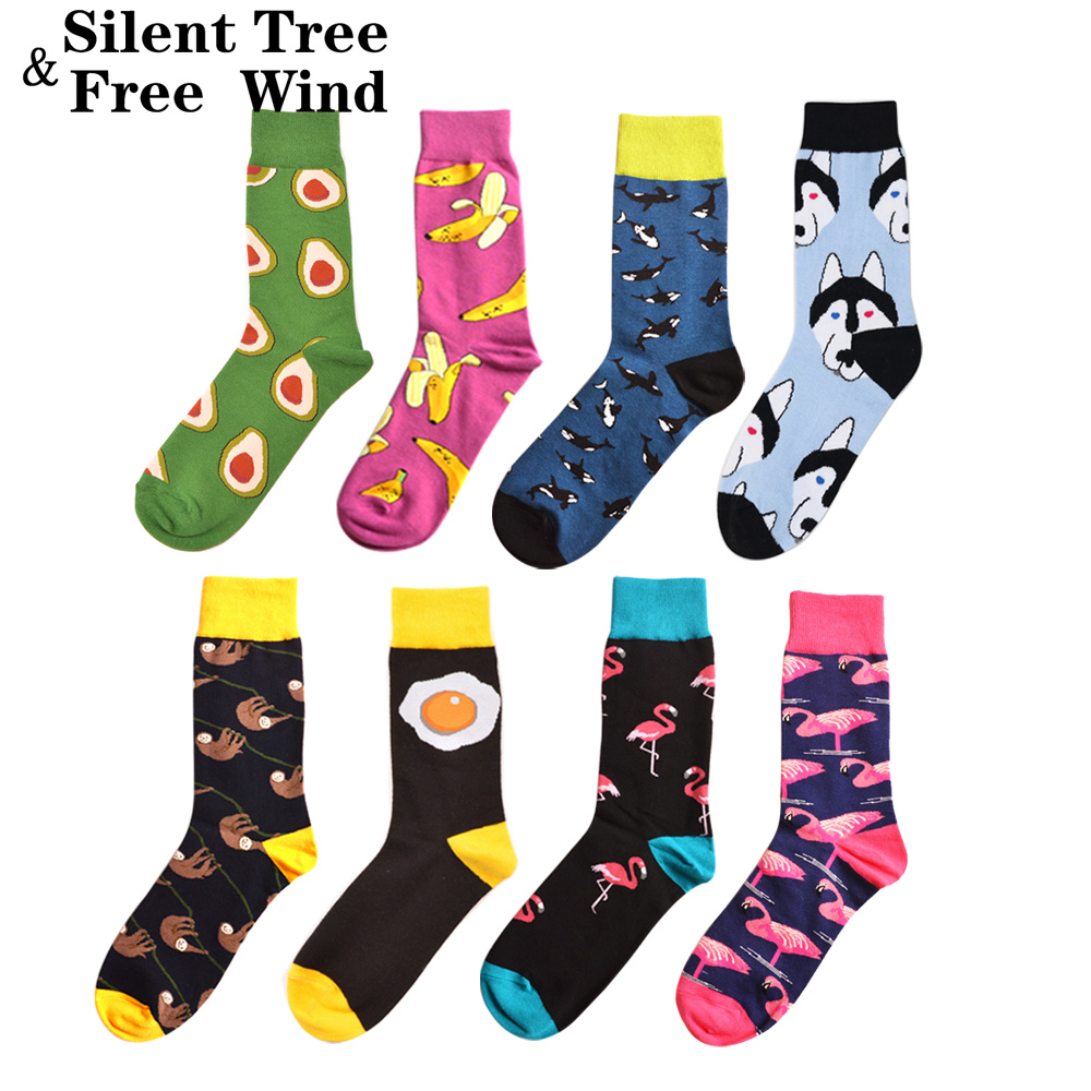 Novelty Women's Funny   Socks   Brand Happy Avocado Banana Shark Husky Sloth Animal Fruits Combed Cotton Gift Wedding   Socks