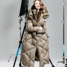 2016 Европа Роскошный Белый Гусиный пух Пальто Женщин Марка Qualited Черный Хаки Длинный Толстый Теплое Пальто С Капюшоном Куртка Для Женщин