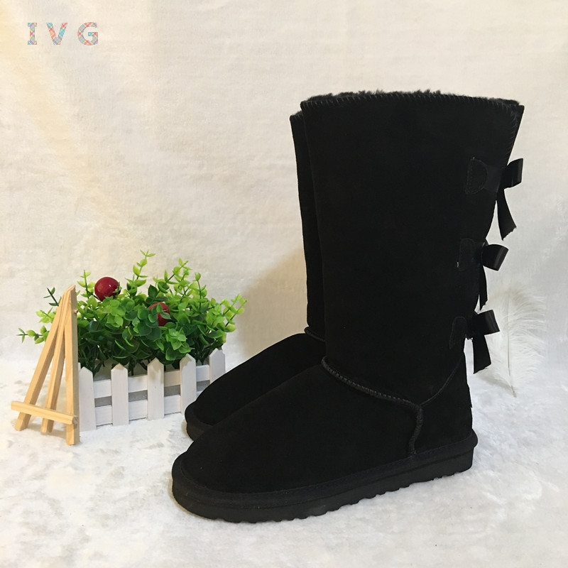 EU35-45 Australian Style Women's Bailey Bow Tall Snow Boots 3-Bow Back Cow Suede Leather Knee-high Winter Boots Brand IVG цена