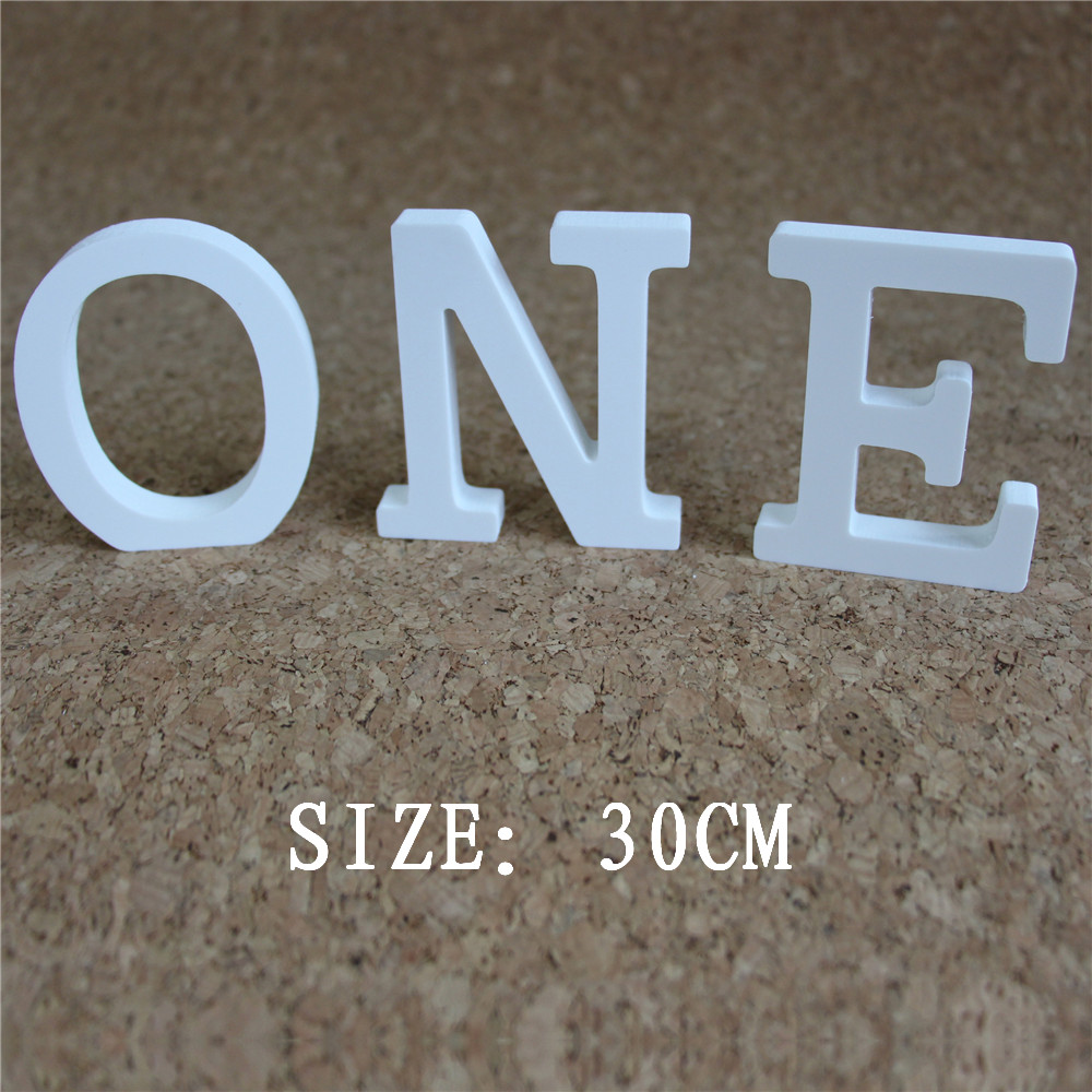 30cm Artificial Wooden White Letters To Home Decor Wedding Jewelry Figures Butterfly Crown Home Decoration With Large Alphabet