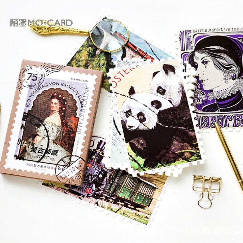 30 Pcs/lot Cute Vintage Stamp Birthday Postcard Set Greeting Card Envelope Gift Birthday Card DIY Gifts