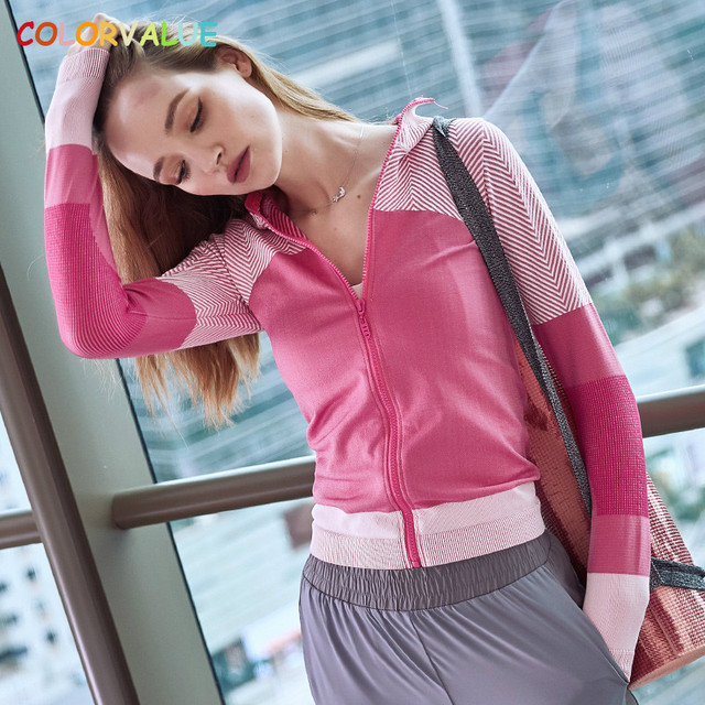 Colorvalue Seamless Gym Workout Coat Women Windproof Hooded Sport Fitness Jacket Slim Fit Jogger Running Jersey with Thumb Holes