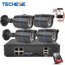 Techege 4CH POE NVR 1080 P HDMI 4 ШТ. 1.0MP ip-камера ИК Всепогодный Открытый 720 P CCTV Камеры Безопасности системы Видеонаблюдения Комплект
